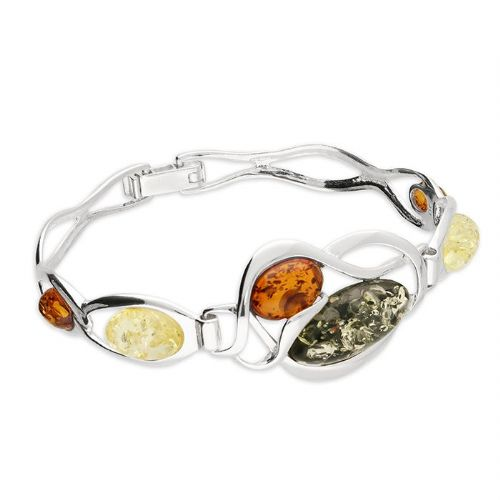 Multi Coloured  Amber Sterling Silver Oval Bangle